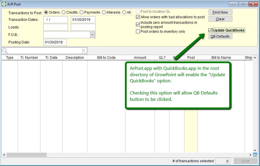 Posting GrowPoint AR to QuickBooks